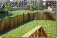 back yard with fence